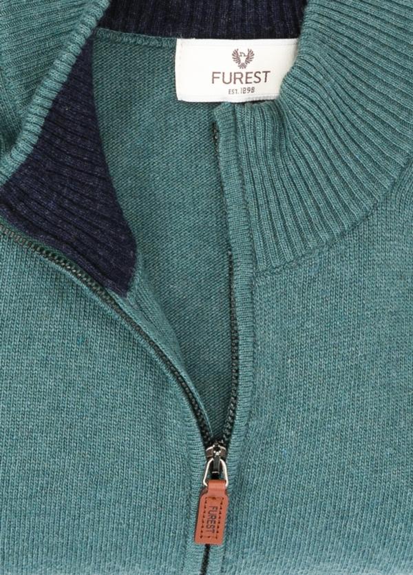 Jersey liso cremallera doble carro, color verde, 40% lana merino, 30% viscosa, 10% cachemire