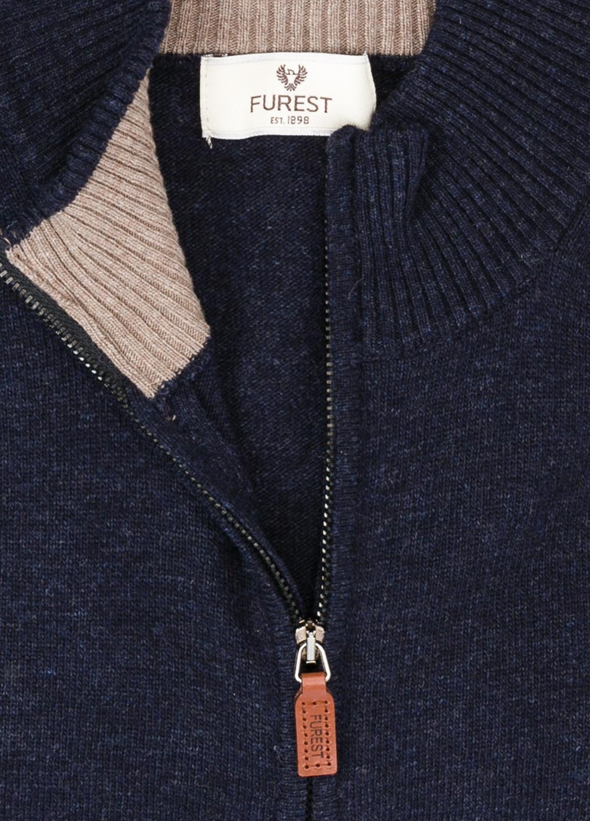 Jersey liso cremallera doble carro, color azul marino, 40% lana merino, 30% viscosa, 10% cachemire