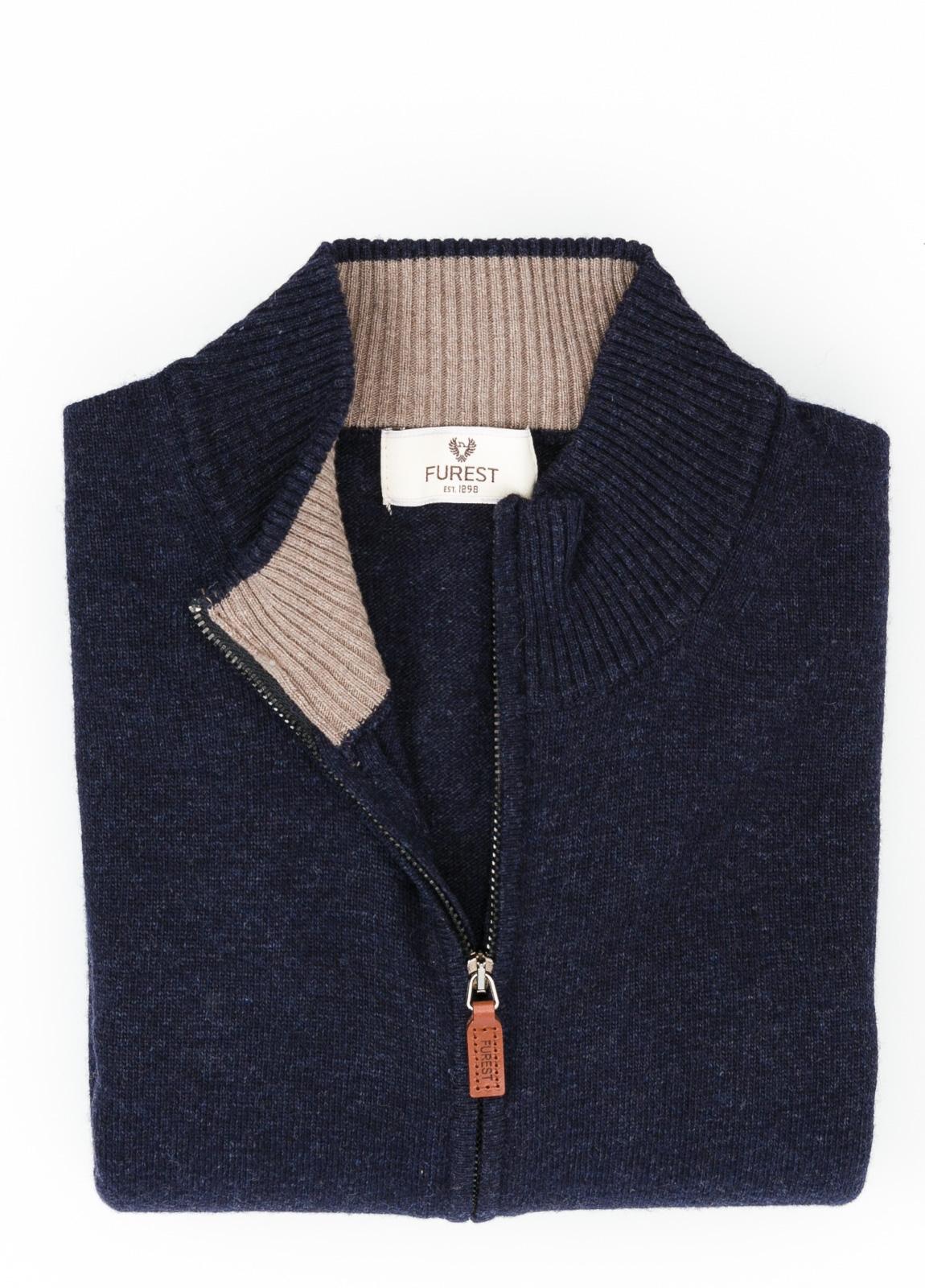 Jersey liso cremallera doble carro, color azul marino, 40% lana merino, 30% viscosa, 10% cachemire - Ítem1