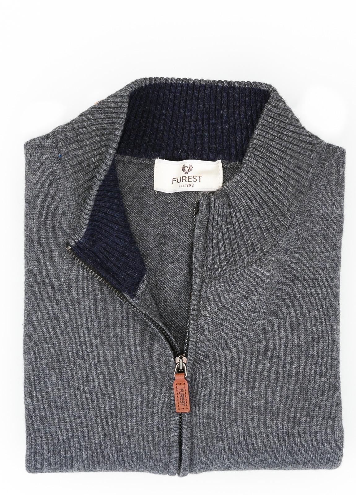 Jersey liso cremallera doble carro, color gris marengo, 40% lana merino, 30% viscosa, 10% cachemire - Ítem1