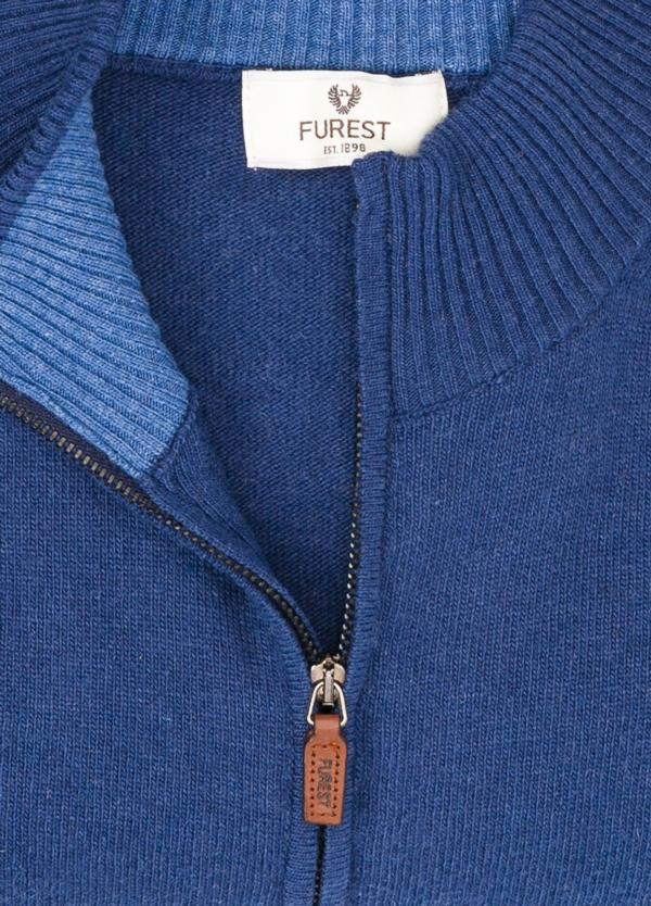 Jersey liso cremallera doble carro, color azul, 40% lana merino, 30% viscosa, 10% cachemire