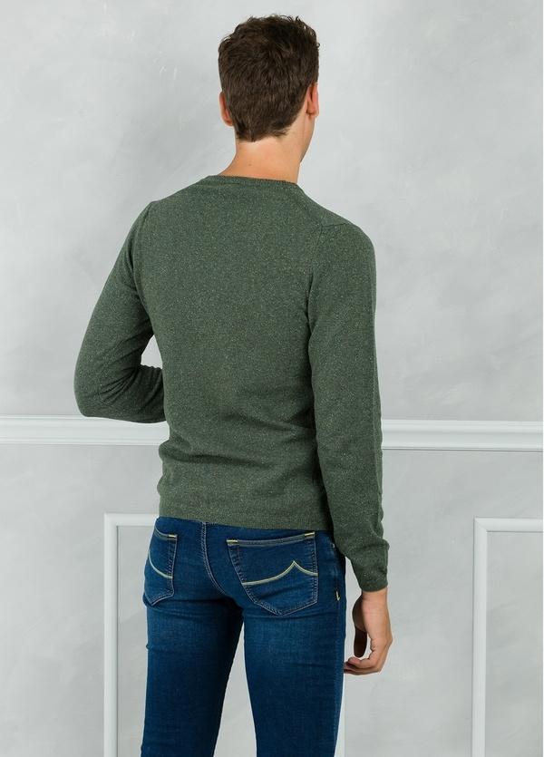 Jersey cuello redondo jaspeado color verde. 50% Lana 25% Seda 25% Nylon - Ítem2