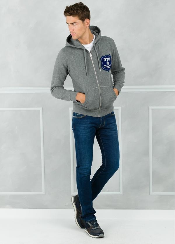 Sudadera con capucha y logo en pecho, color gris. 100% Algodón.