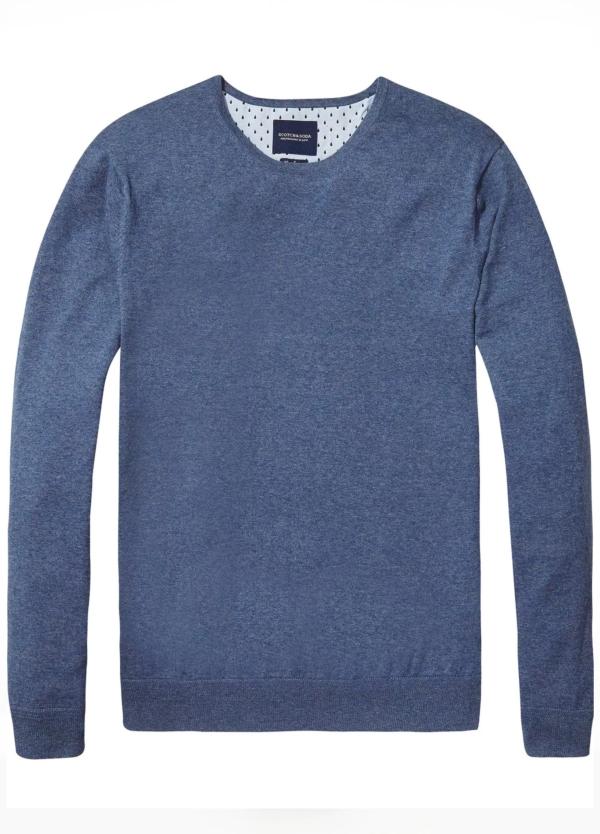Jersey cuello redondo color azul. 95% Algodón 5% Cashmere.