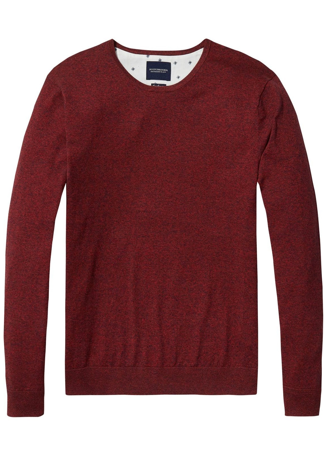 Jersey cuello redondo color granate. 95% Algodón 5% Cashmere.