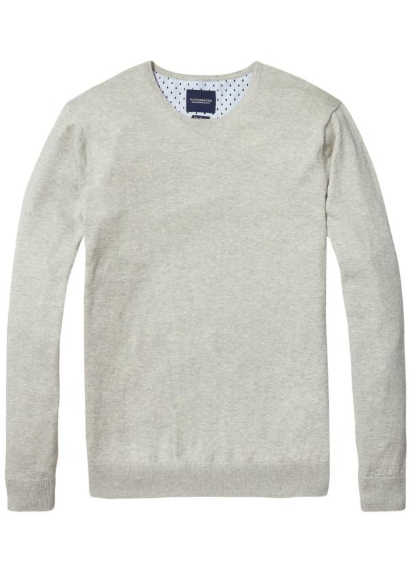 Jersey cuello redondo color gris. 95% Algodón 5% Cashmere.