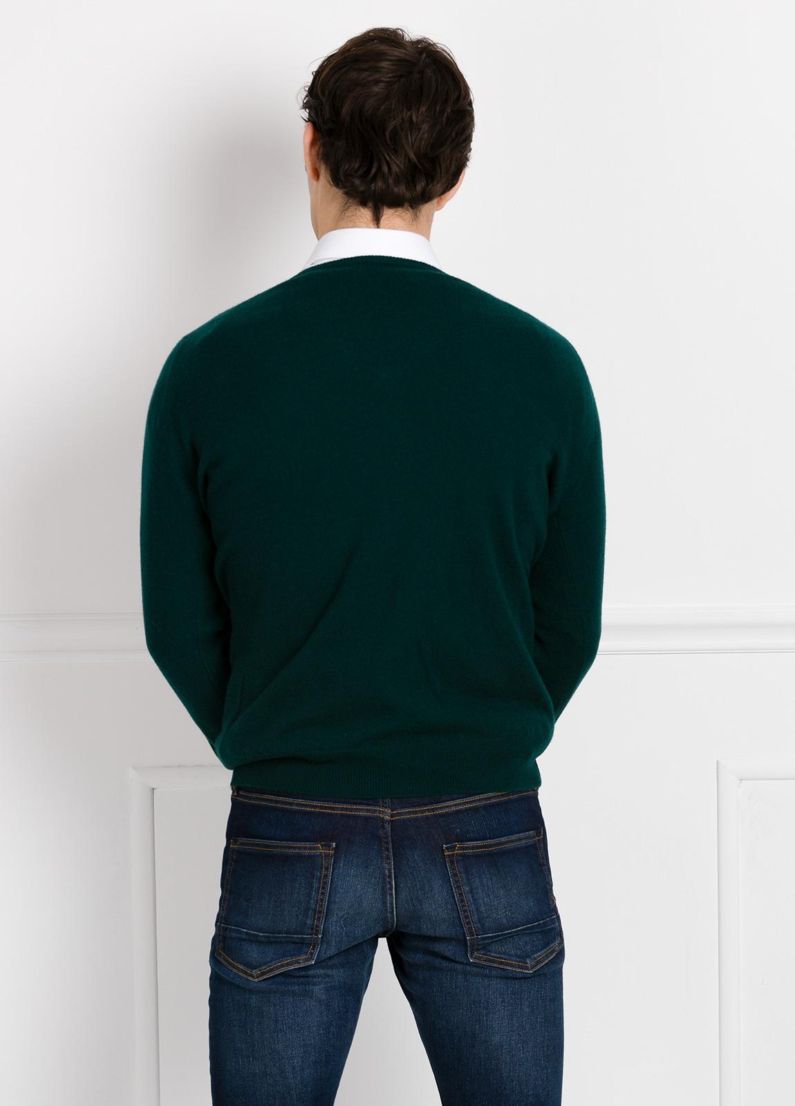Jersey liso cuello pico color verde, cashmere 100%. - Ítem2