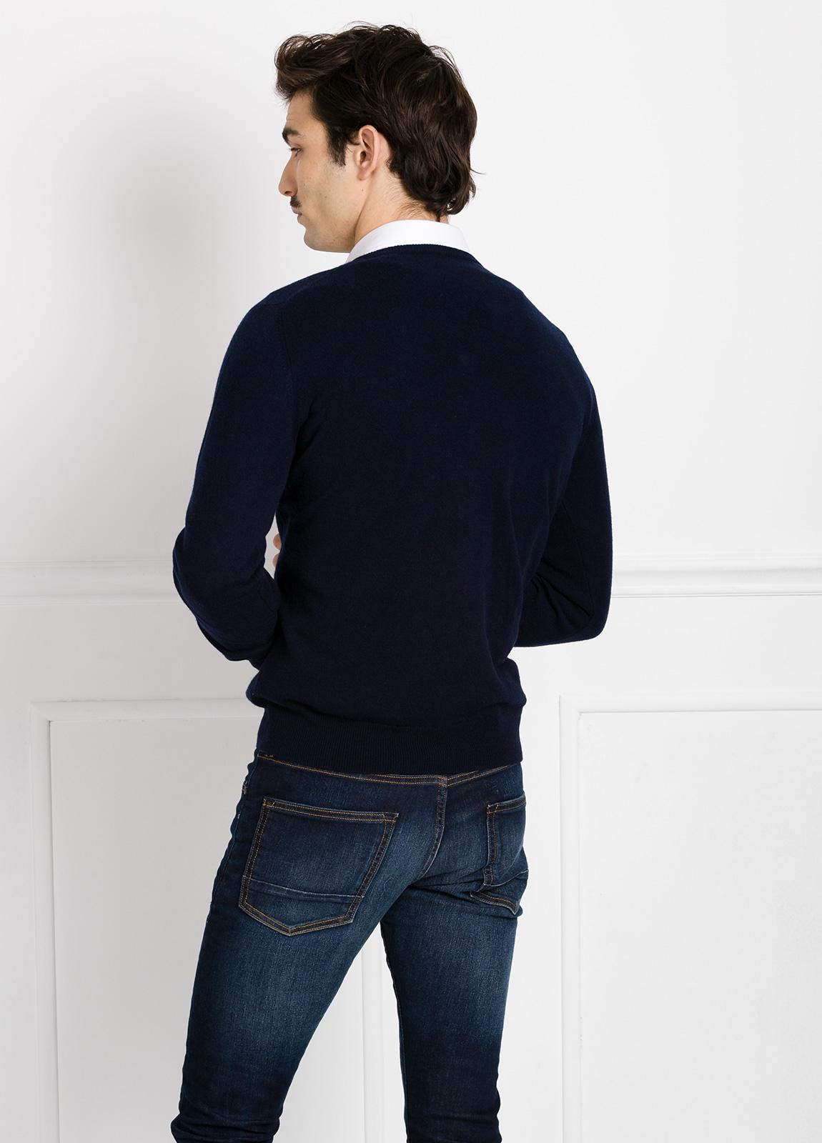 Jersey liso cuello pico color marino, cashmere 100%. - Ítem1
