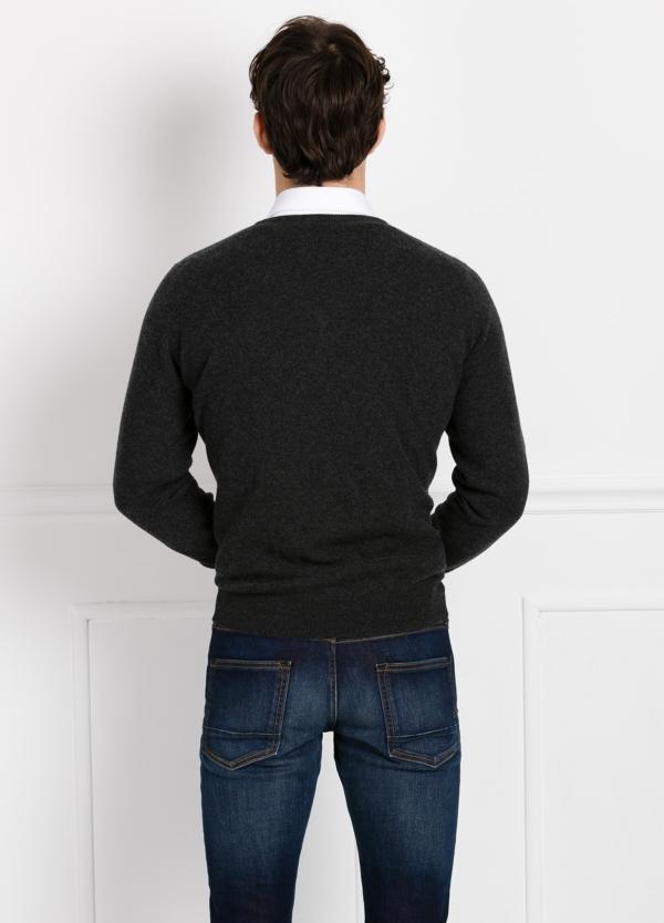 Jersey liso cuello pico color gris marengo, cashmere 100%. - Ítem1