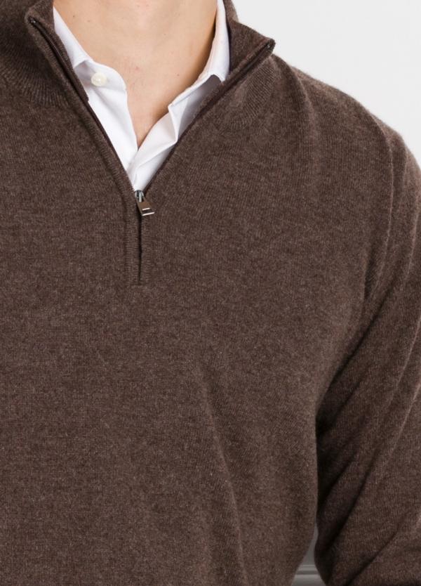 Jersey liso cuello cremallera color vison, cashmere 100%. - Ítem1