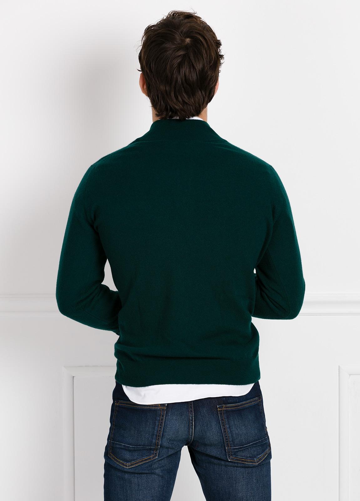 Jersey liso cuello cremallera color verde, cashmere 100%. - Ítem2