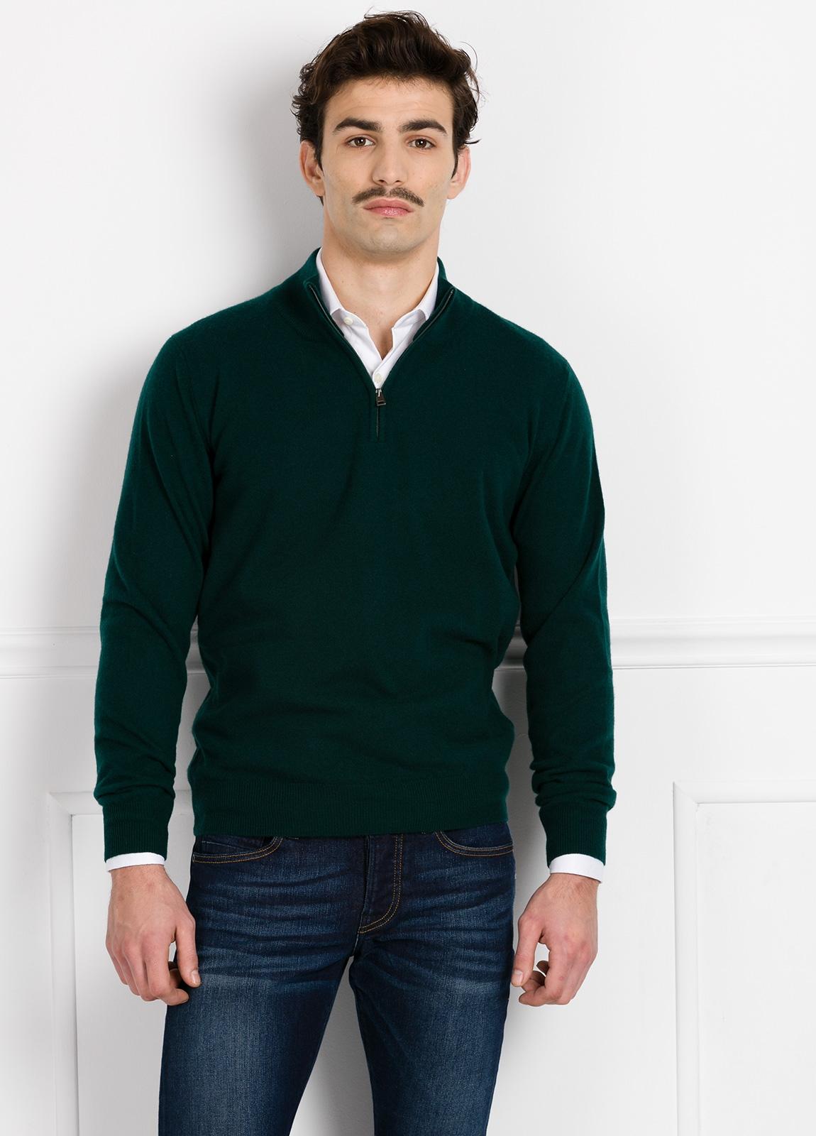 Jersey liso cuello cremallera color verde, cashmere 100%.