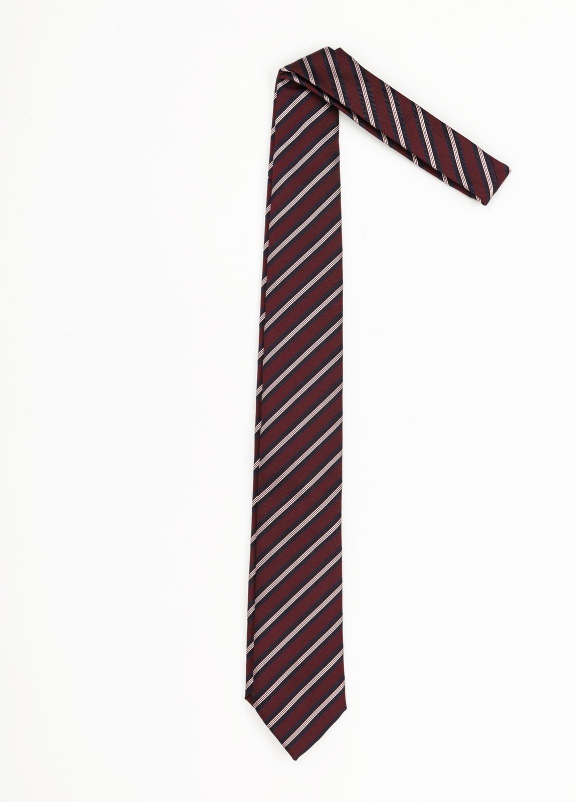Corbata Formal Wear rayas diagonales, color granate. Pala 7,5 cm. Seda- Algodón.
