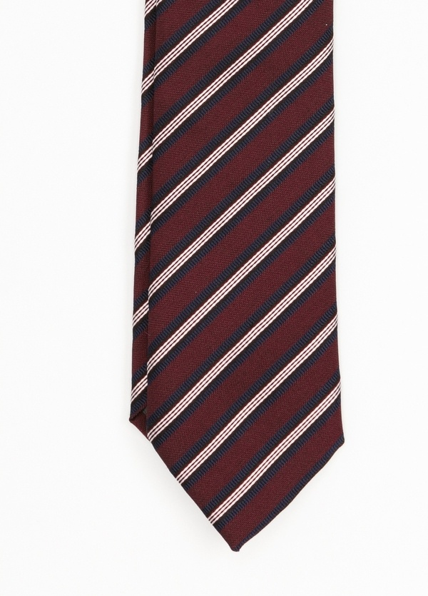 Corbata Formal Wear rayas diagonales, color granate. Pala 7,5 cm. Seda- Algodón. - Ítem1