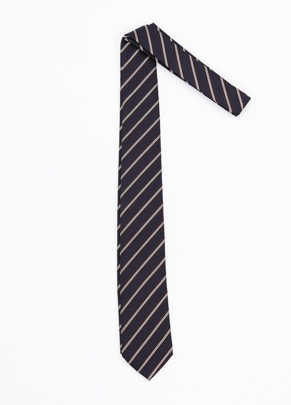 Corbata Formal Wear rayas diagonales, color azul marino. Pala 7,5 cm. Seda- Algodón. - Ítem1