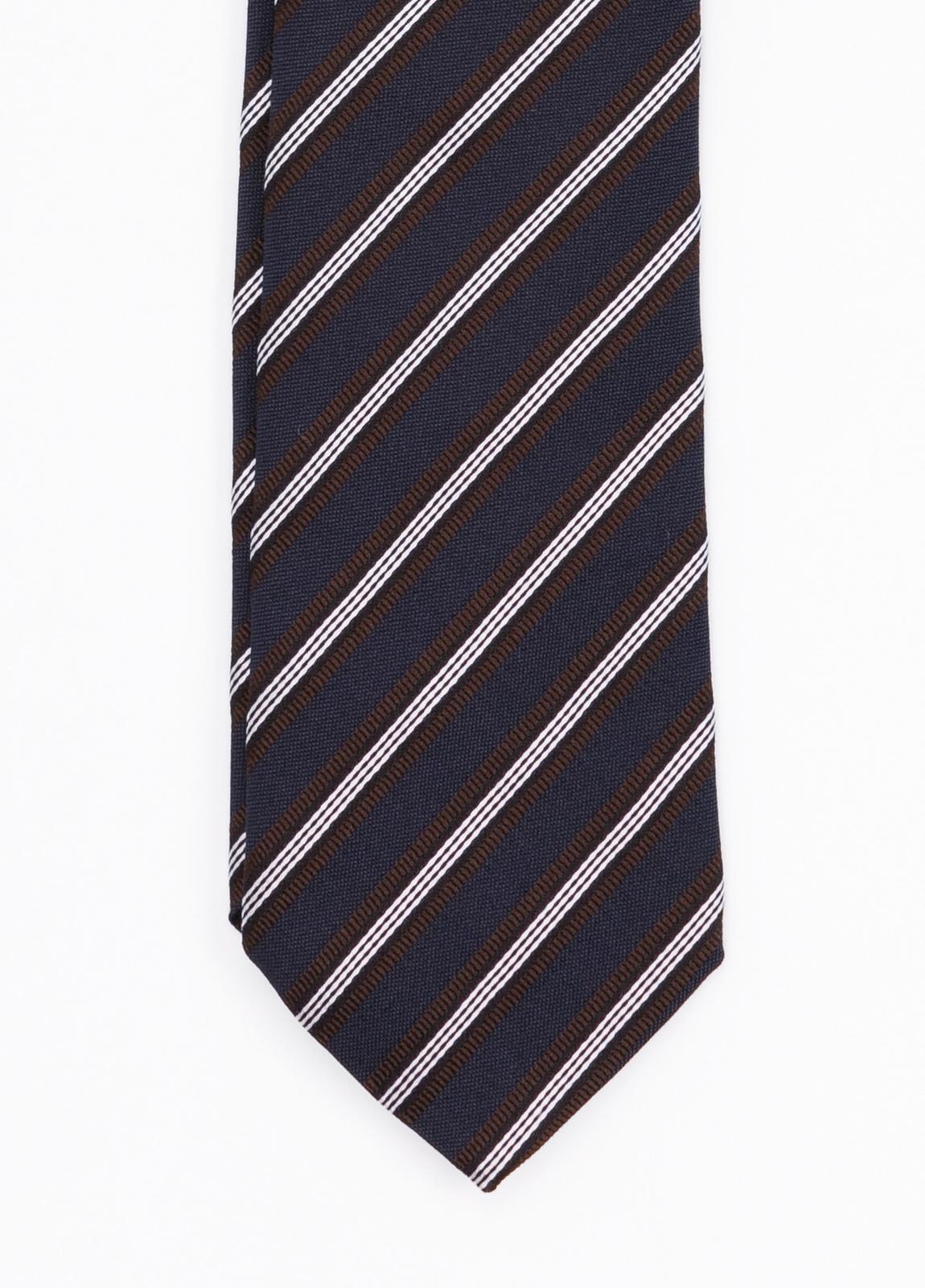 Corbata Formal Wear rayas diagonales, color azul marino. Pala 7,5 cm. Seda- Algodón.