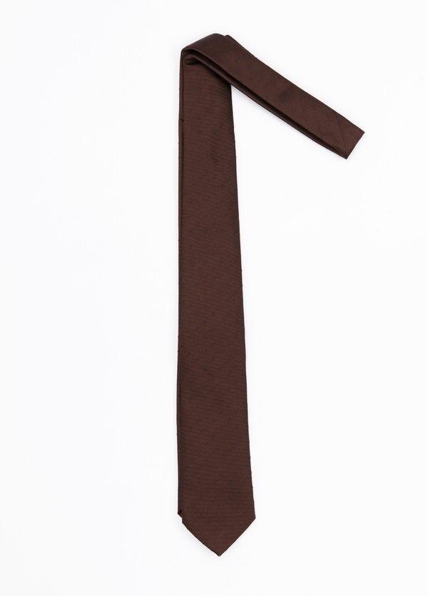 Corbata Formal Wear microdibujo, color marrón. Pala 7,5 cm. Seda-Algodón.