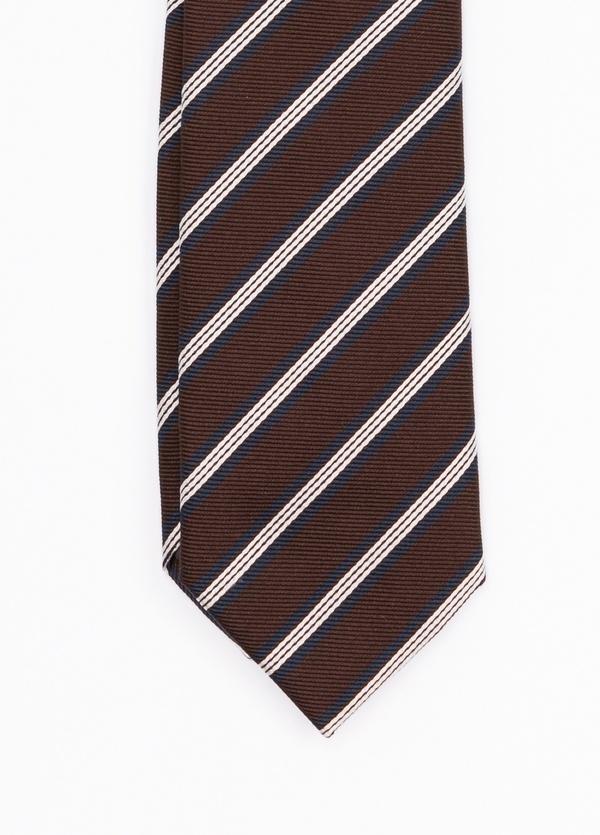 Corbata Formal Wear rayas diagonales, color marrón. pala 7,5 cm. Seda-Algodón.