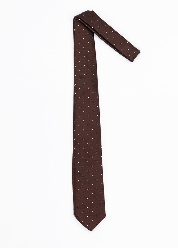 Corbata Formal Wear microdibujo flor, color marrón. pala 7,5 cm. Seda-Algodón.