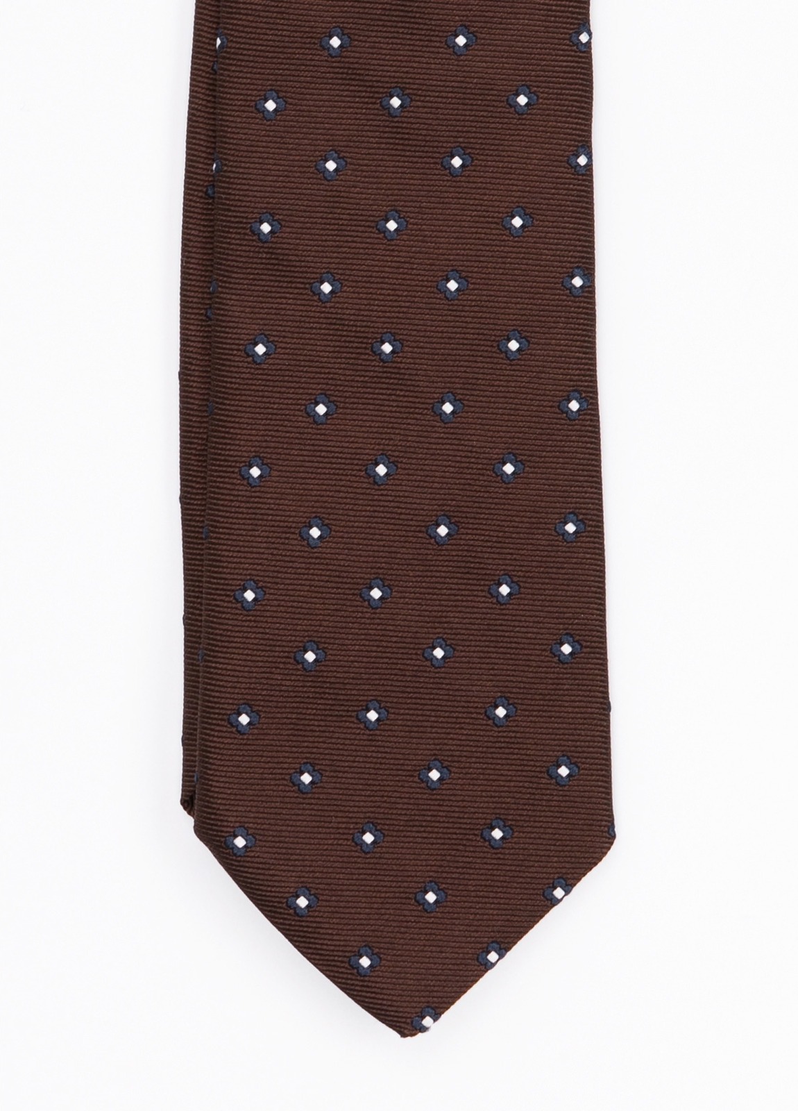 Corbata Formal Wear microdibujo flor, color marrón. pala 7,5 cm. Seda-Algodón. - Ítem1
