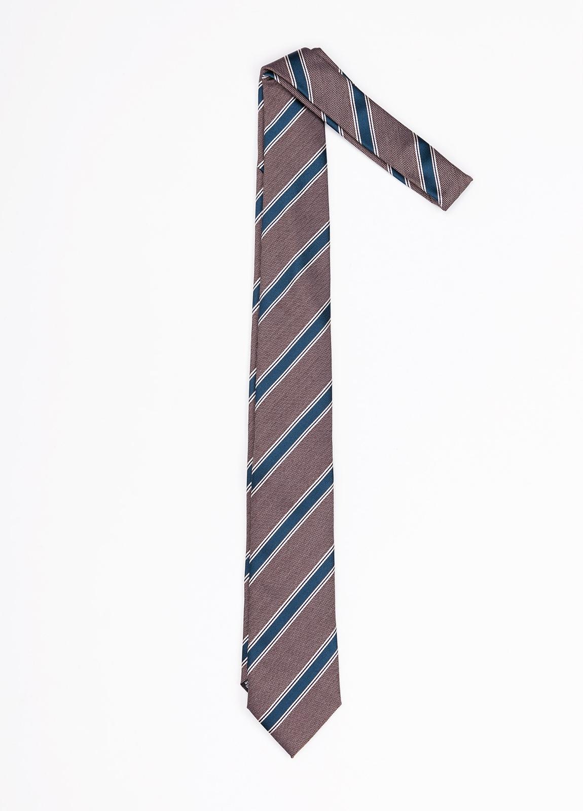 Corbata Formal Wear rayas diagonales, color marrón. Pala 7,5 cm. 100% Seda.