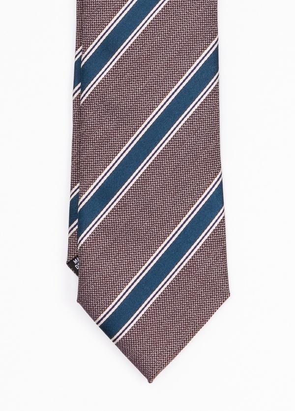 Corbata Formal Wear rayas diagonales, color marrón. Pala 7,5 cm. 100% Seda. - Ítem1