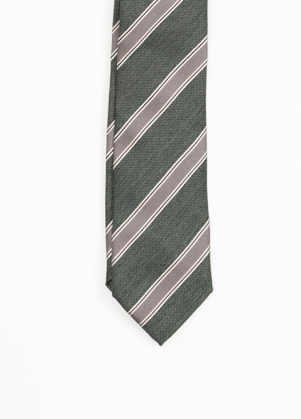 Corbata Formal Wear rayas diagonales, color verde. Pala 7,5 cm. 100% Seda. - Ítem1
