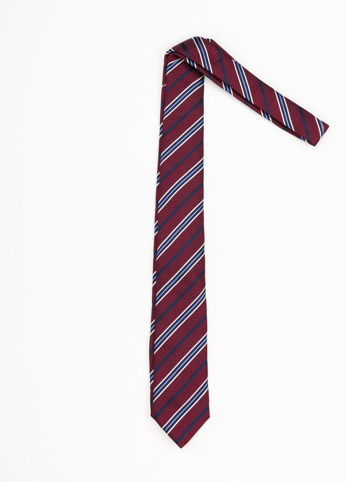 Corbata Formal Wear rayas diagonales, color granate. Pala 7,5 cm. 100% Seda. - Ítem1