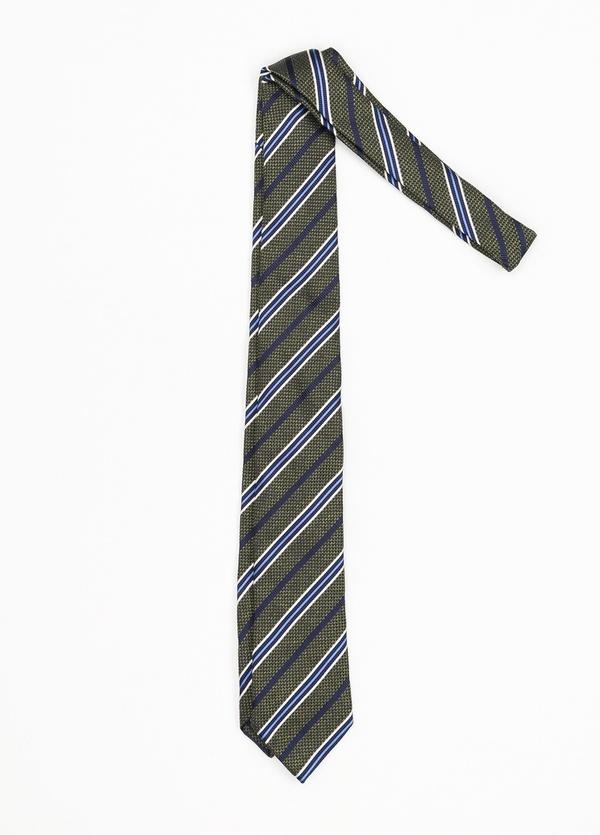 Corbata Formal Wear rayas diagonales, color verde. Pala 7,5 cm. 100% Seda.