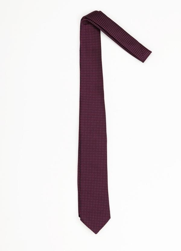 Corbata Formal Wear microdibujo, color granate. pala 7,5 cm. Seda-Algodón.