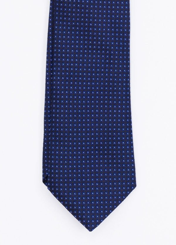 Corbata Formal Wear microdibujo, color azul. pala 7,5 cm. Seda-Algodón.