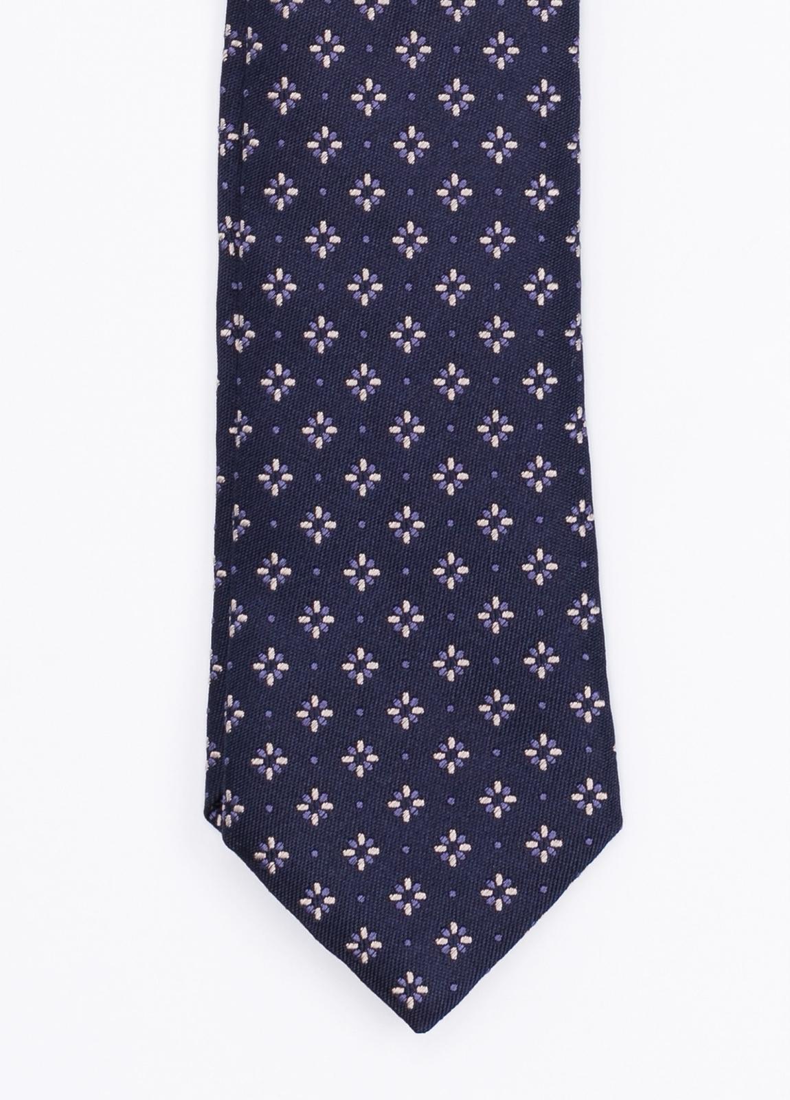 Corbata Formal wear dibujo flor, color azul marino. Pala 7,5 cm. Seda_Algodón.