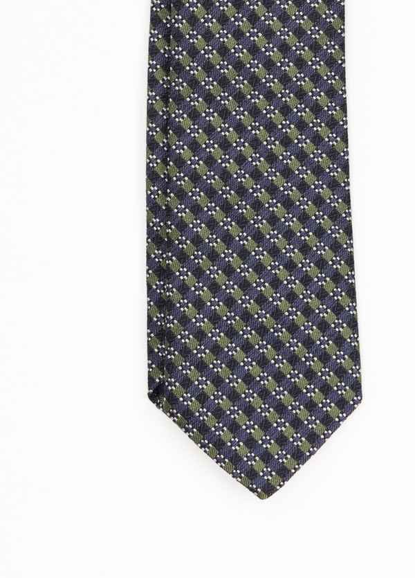 Corbata Formal wear dibujo flor, color verde. Pala 7,5 cm. 56% Seda 44% Algodón. - Ítem1