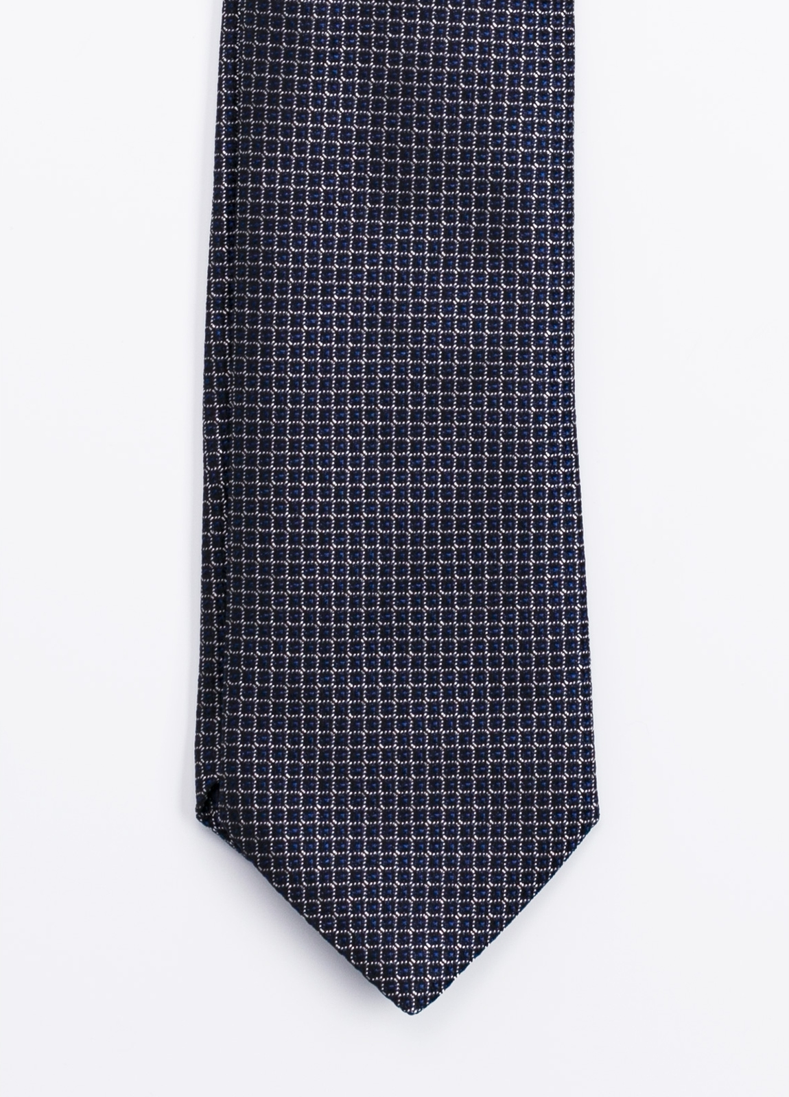 Corbata Formal Wear microdibujo, color azul marino. Pala 7,5 cm. 100% Seda.