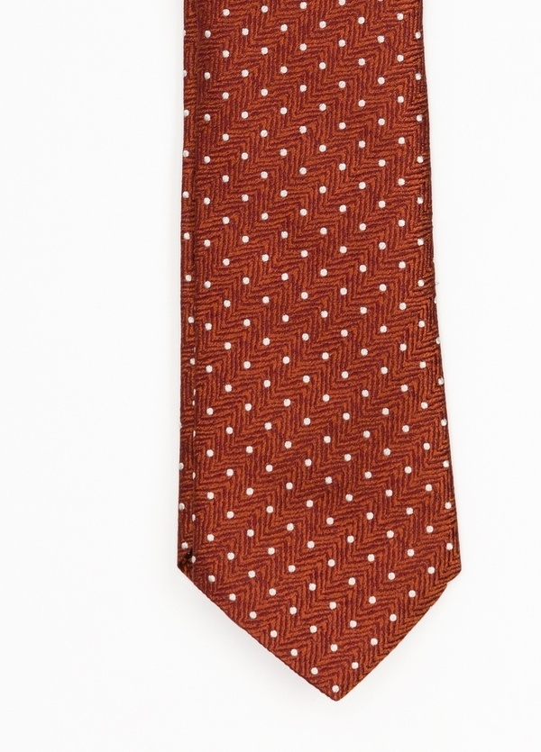 Corbata Formal Wear topitos, color naranja. Pala 7,5 cm. 100% Seda.