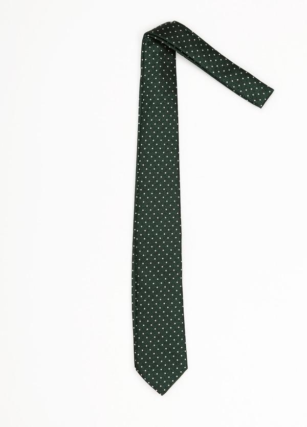 Corbata Formal Wear topitos, color verde. Pala 7,5 cm. 100% Seda.