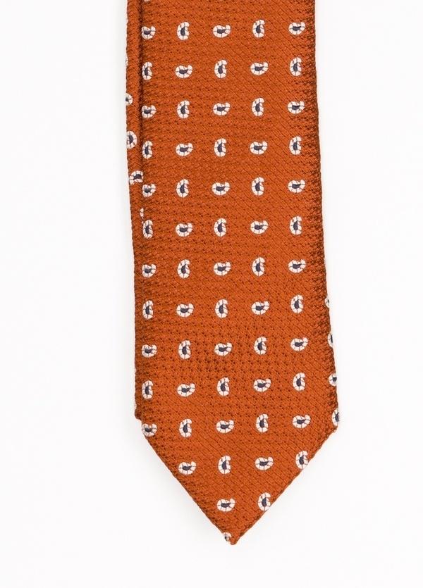 Corbata Formal Wear microdibujo, color naranja. Pala 7,5 cm. 100% SedFo - Ítem1