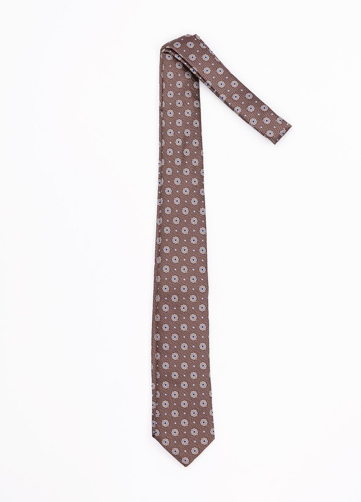 Corbata Formal Wear estampado flores, color marrón. Pala 7,5 cm. 100% Seda.