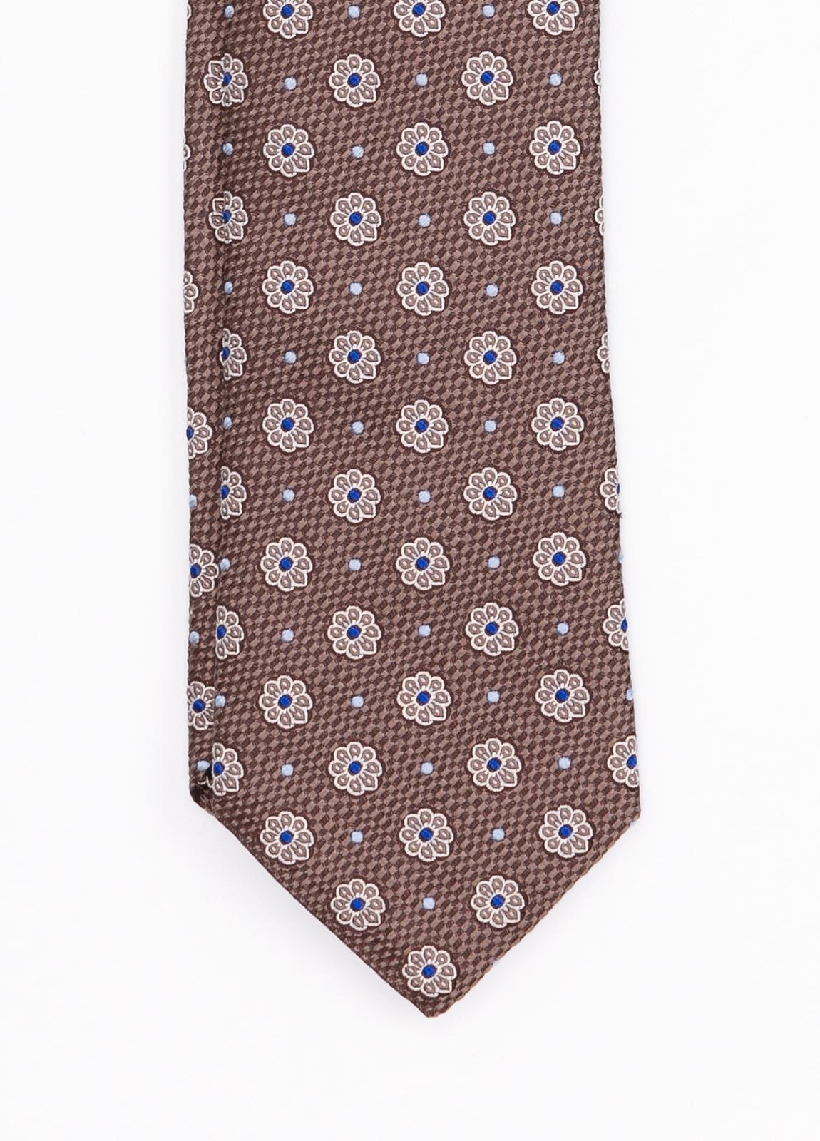 Corbata Formal Wear estampado flores, color marrón. Pala 7,5 cm. 100% Seda. - Ítem1