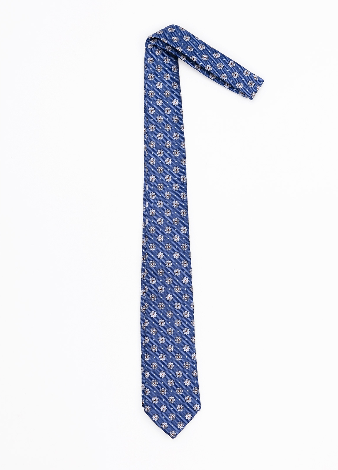Corbata Formal Wear estampado flores, color azul. Pala 7,5 cm. 100% Seda. - Ítem1