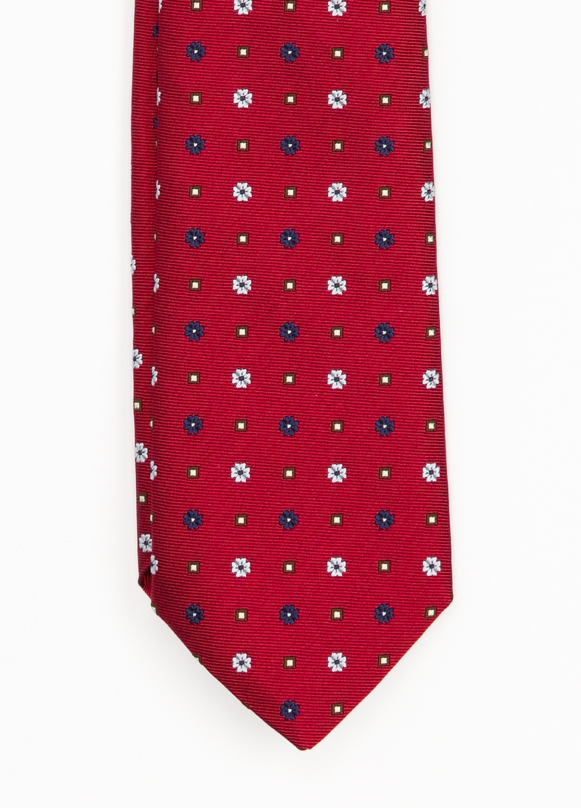 Corbata Formal Wear estampado flores, color rojo. Pala 7,5 cm. 62% Seda 38% Algodón.