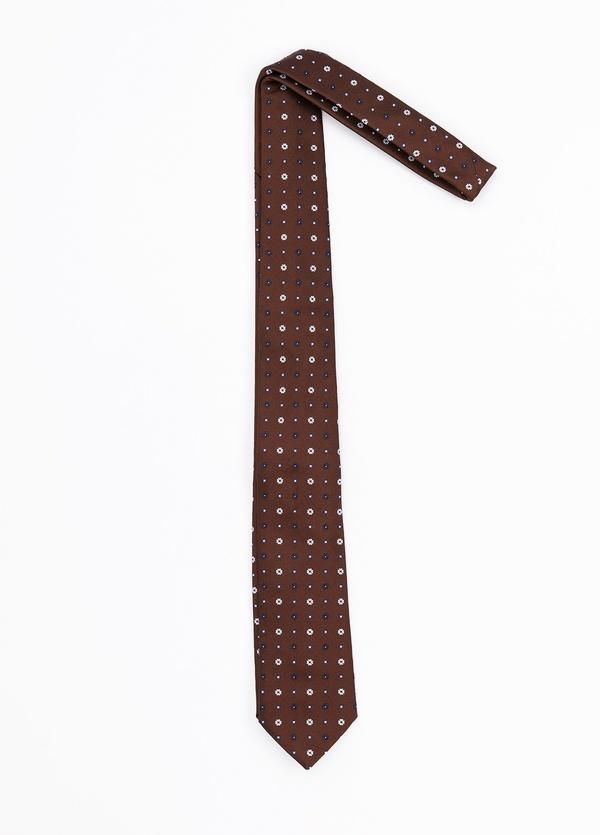 Corbata Formal Wear estampado flores, color marrón. Pala 7,5 cm. 62% Seda 38% Algodón. - Ítem1