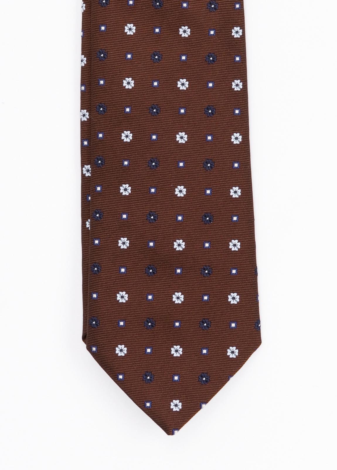 Corbata Formal Wear estampado flores, color marrón. Pala 7,5 cm. 62% Seda 38% Algodón.
