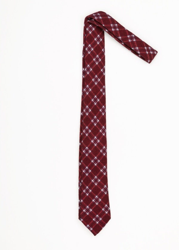 Corbata Formal Wear estampado cuadros, color rojo. Pala 7,5 cm. 100% Lana. - Ítem1
