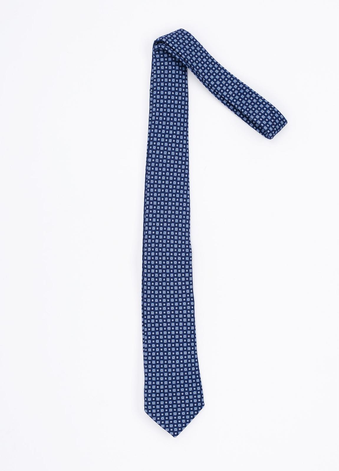 Corbata Formal Wear microdibujo, color azul. Pala 7,5 cm. 100% Lana.