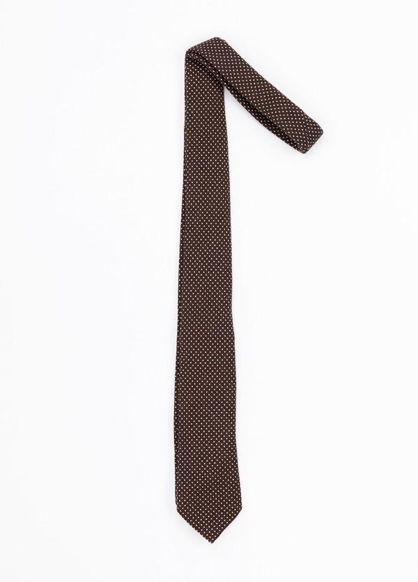 Corbata Formal Wear estampado topitos, color marrón. Pala 7,5 cm. 100% Lana.