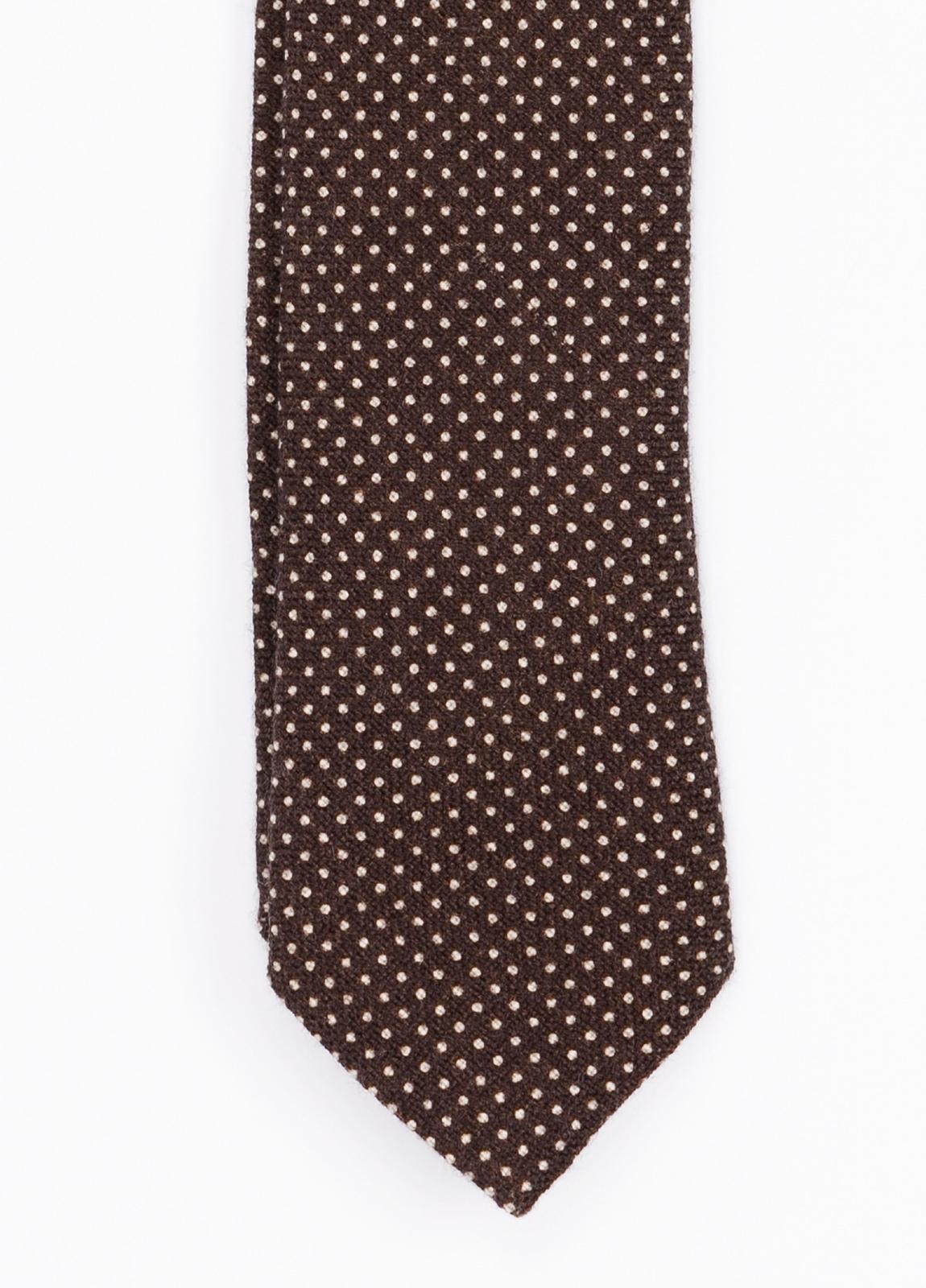 Corbata Formal Wear estampado topitos, color marrón. Pala 7,5 cm. 100% Lana. - Ítem1