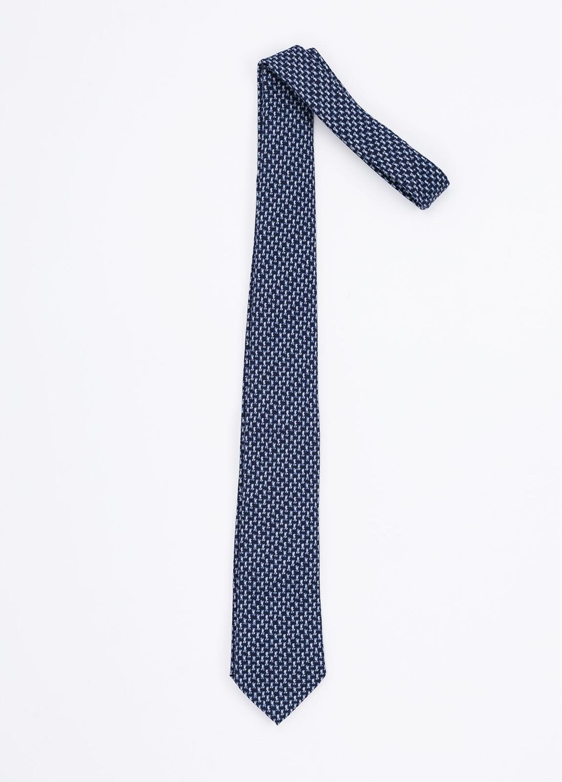Corbata Formal Wear microdibujo, color azul. Pala 7,5 cm. 100% Lana. - Ítem1