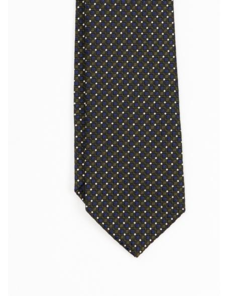Corbata Formal Wear estampado cuadritos, color verde. Pala 7,5 cm. 55% Seda 45% Algodón. - Ítem1