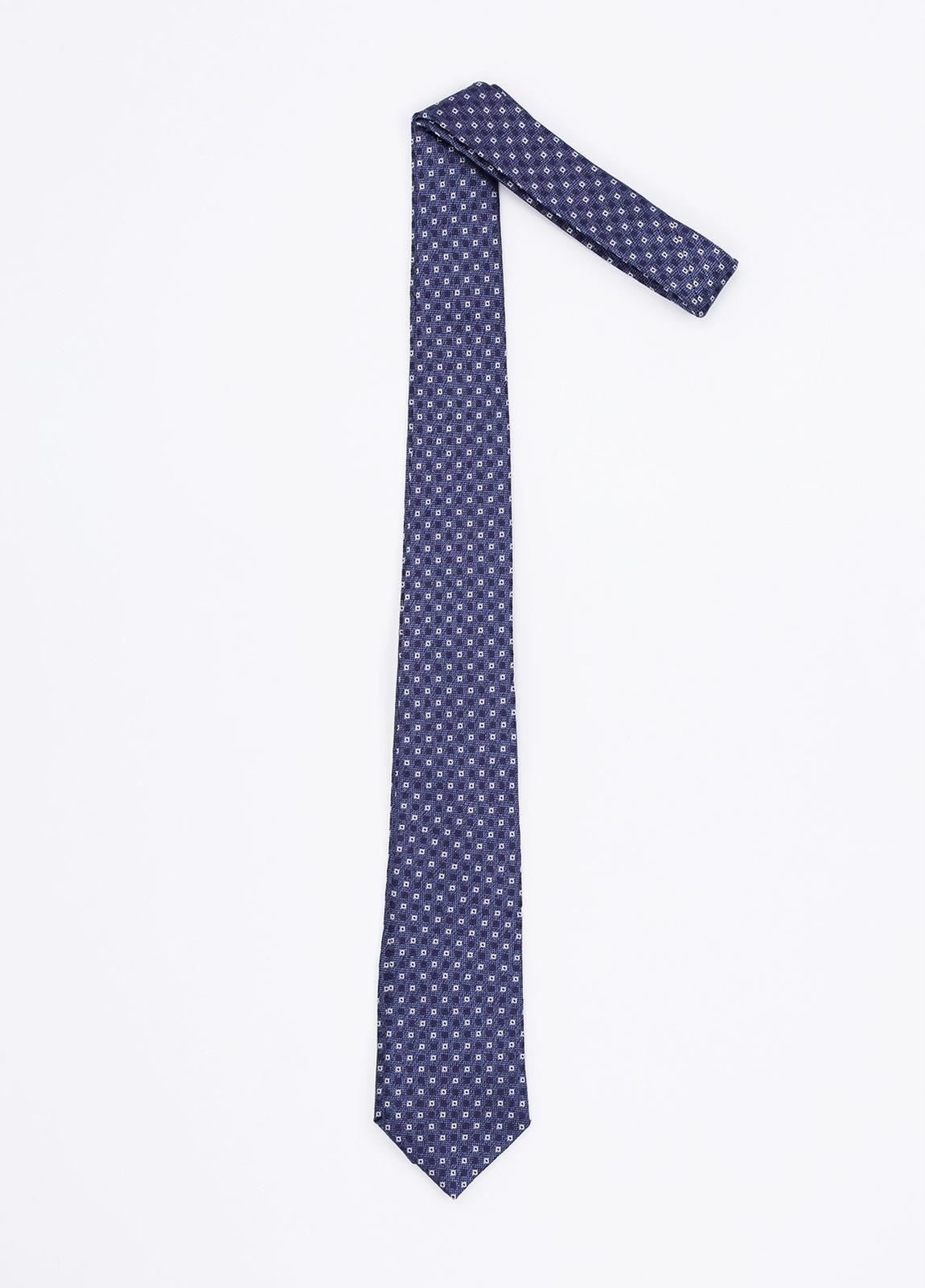Corbata Formal Wear estampado geométrico, color azul. Pala 7,5 cm. 100% Seda.